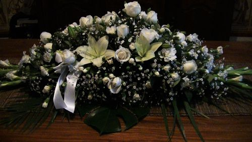 White Rose, Lily and Baby's Breath Casket Flowers