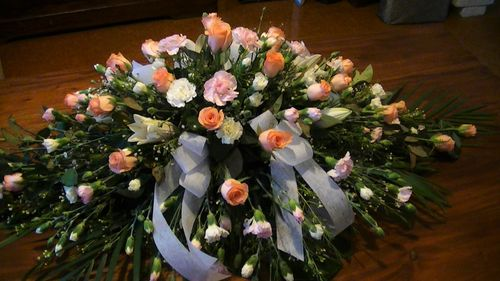 Light Pink and Apricot Casket Flowers