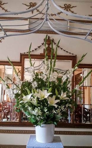 Church Ceremony White Flower Arrangement