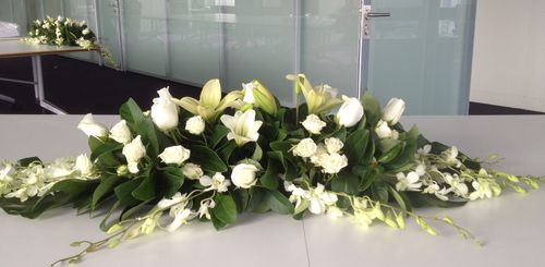 White Long and Low Arrangement