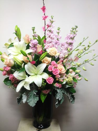 Lilac and Pink Ceremony Vase Arrangement