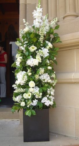 Tall White Ceremony Church Flowers