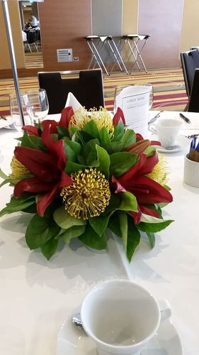 Lily and Pincushion Table Arrangement