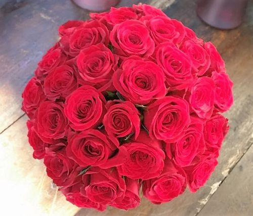 Bridal Bouquet filled with Red Columbian Roses