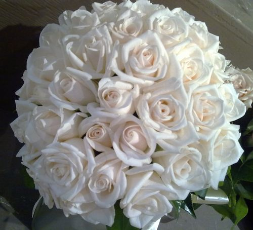 Wedding Bridal Bouquet with Cream Roses