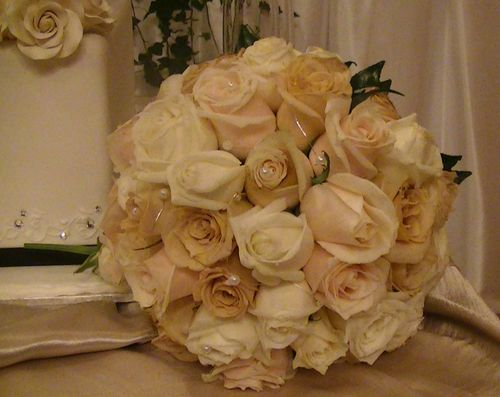 Round Rose Wedding Bouquet with Earthy Coloured Roses