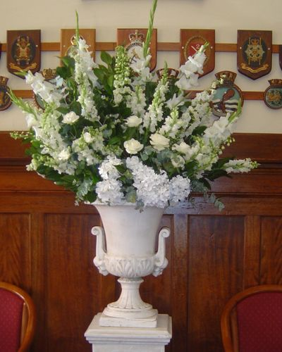 Urn Arrangement for your Event with White Fresh Flowers