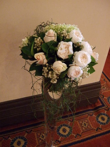 Tall Vase Arrangement with David Austin Roses and Berries