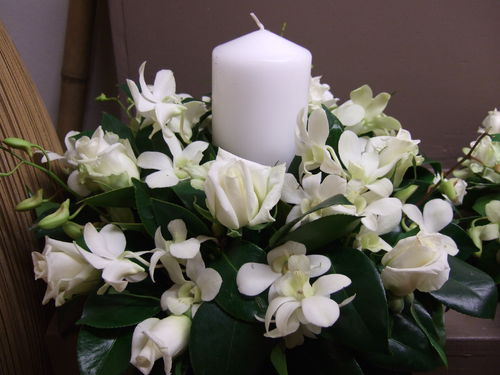 Candle Arrangement with White Roses and Orchids