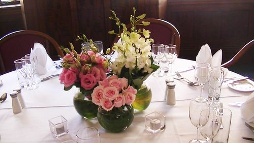 Vases of Roses, Lissianthus and Orchids