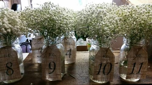 Baby's Breath in Mason Vases