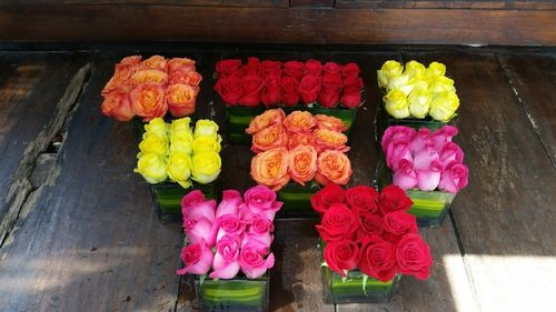 Colourful Columbian Roses in Small Square Vases