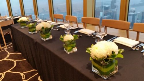 White Chrysanthemum Square Vase Arrangements