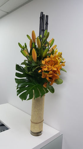 Gold Vanda Orchids and Lilies