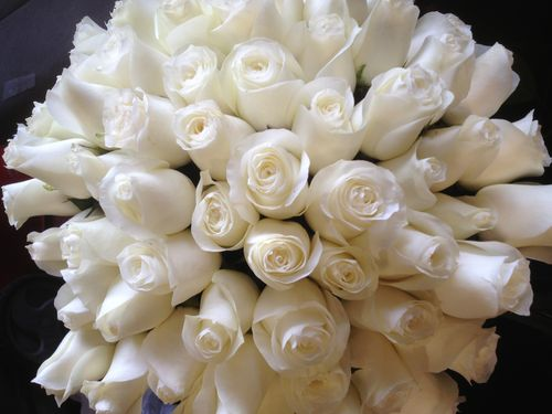 Columbian White Rose Wedding Bouquet